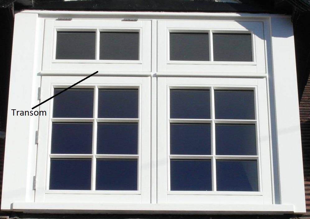 Window transom on flush timber casements
