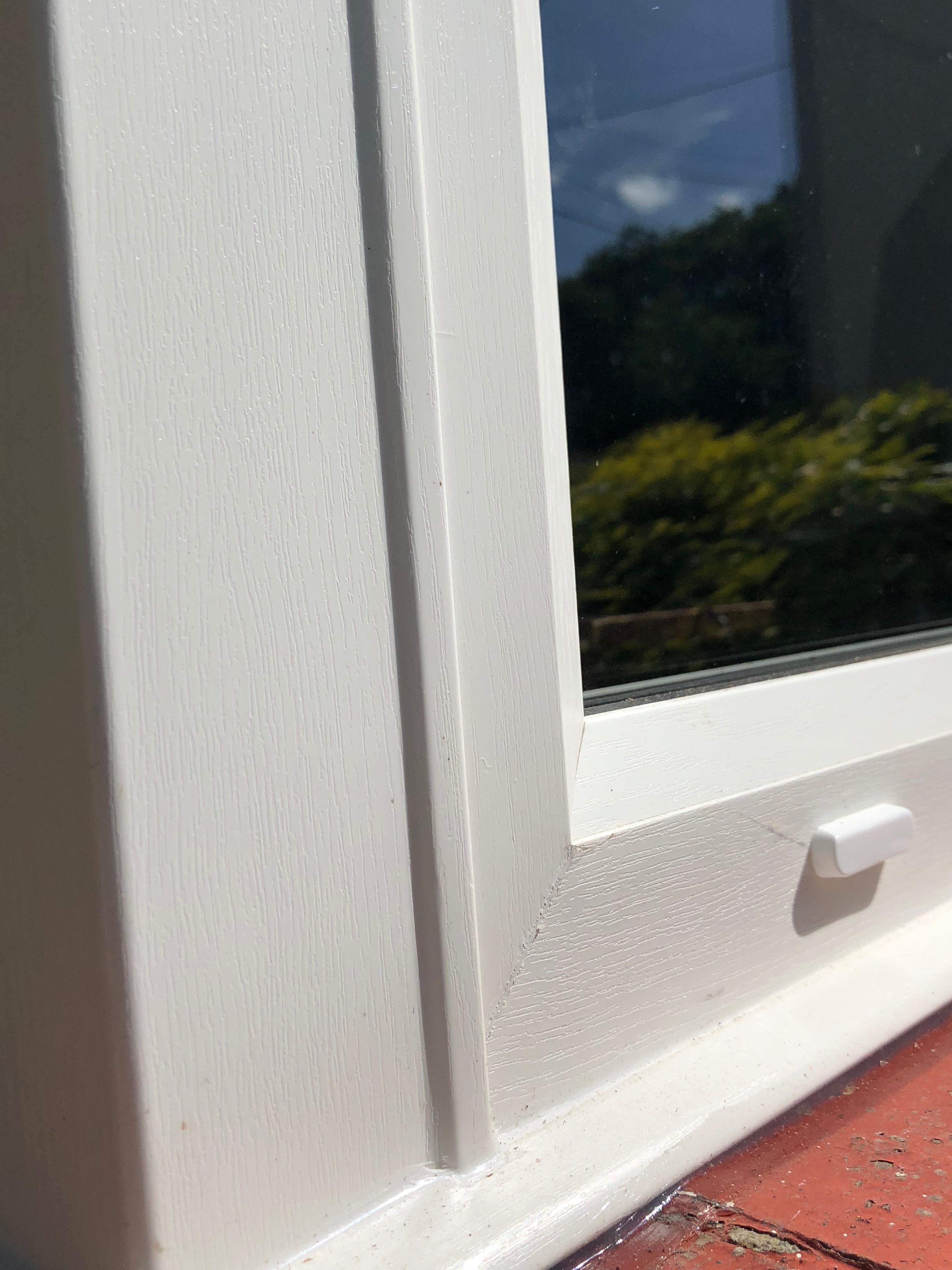 White woodgrain window