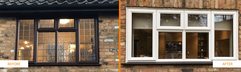 Before and after woodgrain window installation