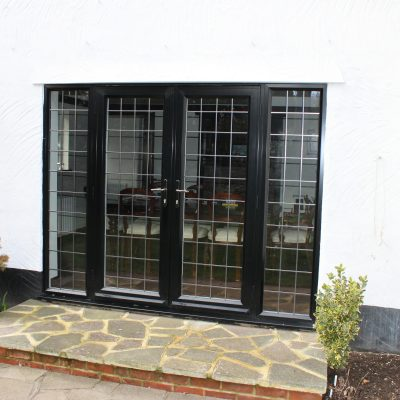 Black ali french doors with leads