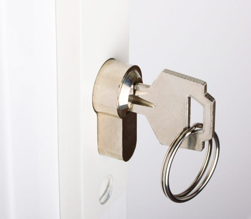 door lock with silver key