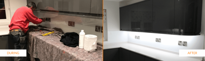 During, after splashback installation