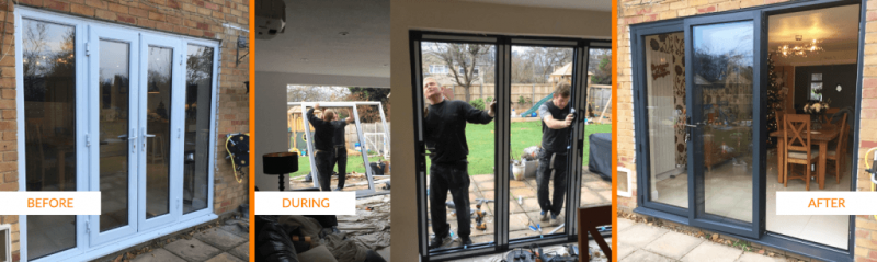 Grey Bi folding doors installation