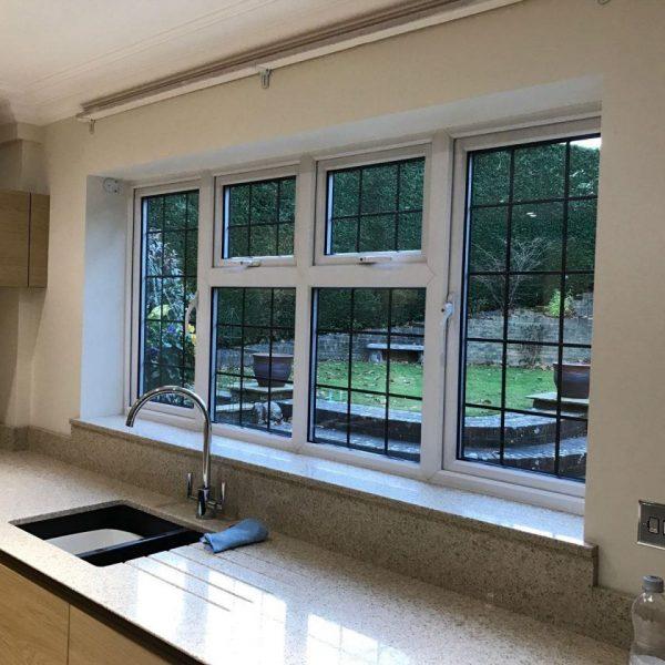 wood grain foiled windows