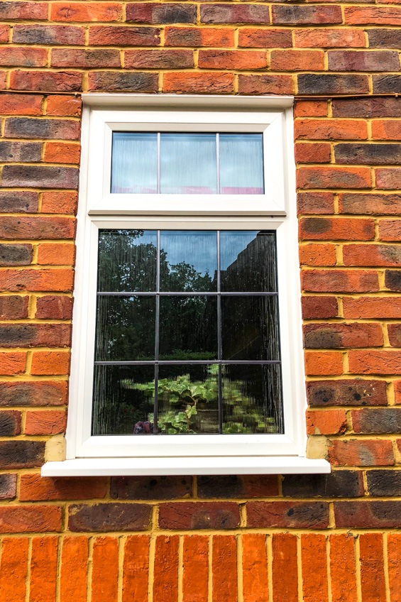 upvc slimline window square leaded