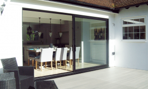 black sliding patio door
