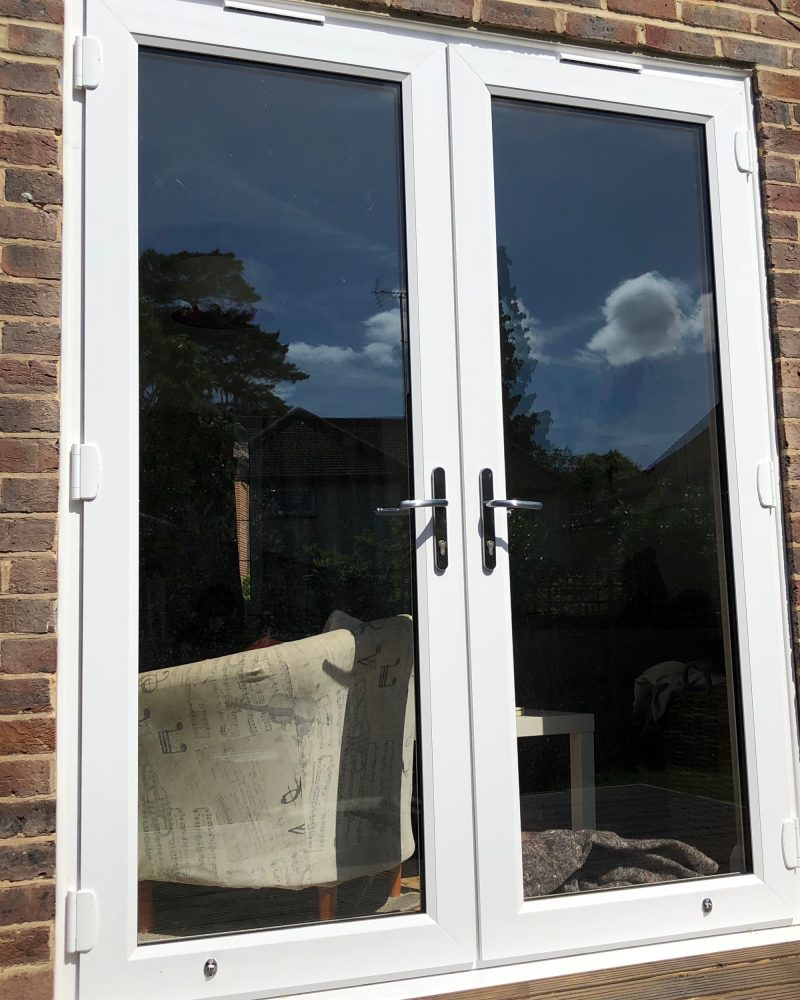 white slimline french doors