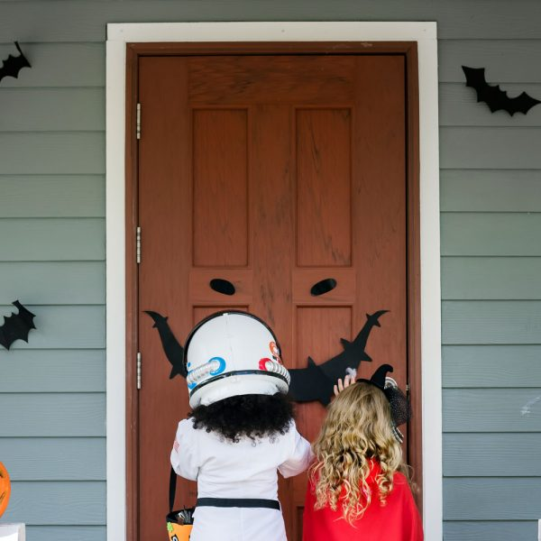 Trick or treaters - decorated door for Halloween