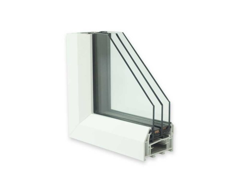 White upvc triple glazing cross section