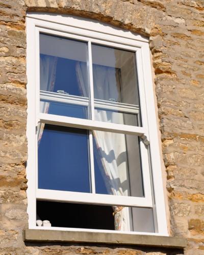 Sliding sash window in white