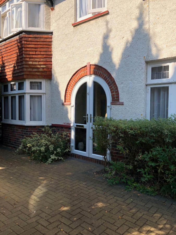 White uPVC arched door Byfleet (1)