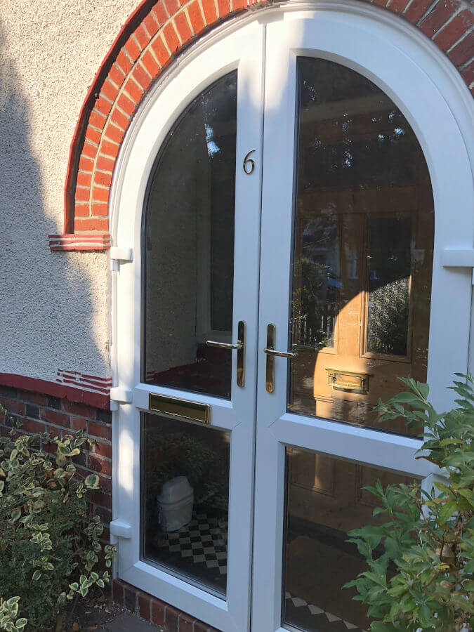 White uPVC arched door Byfleet 4