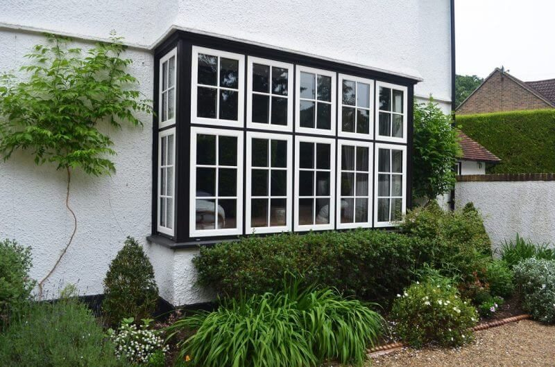 Woodgrain effect uPVC bay window