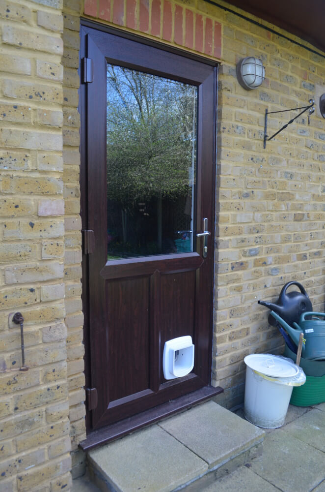 Rosewood uPVC door with catflap