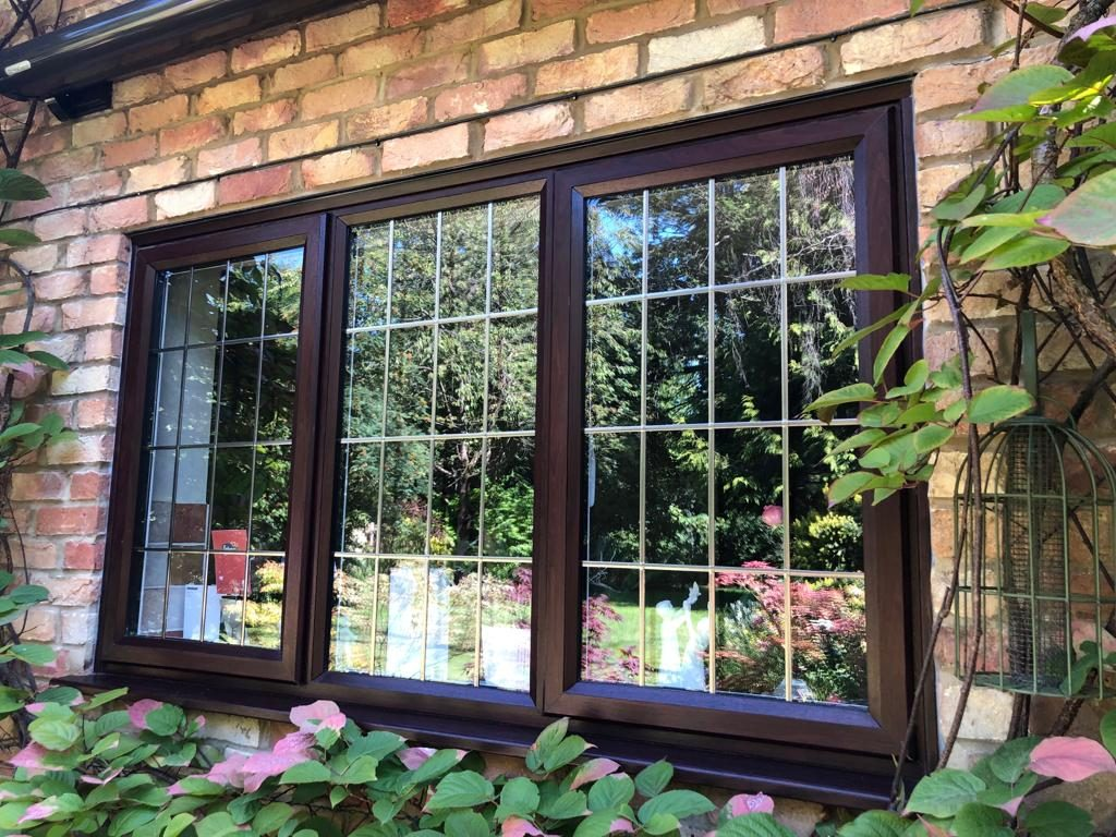 slimline leaded glass casement windows in Rosewood