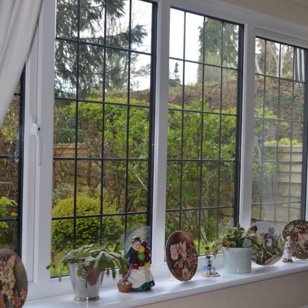 leaded glass slimline windows interior view