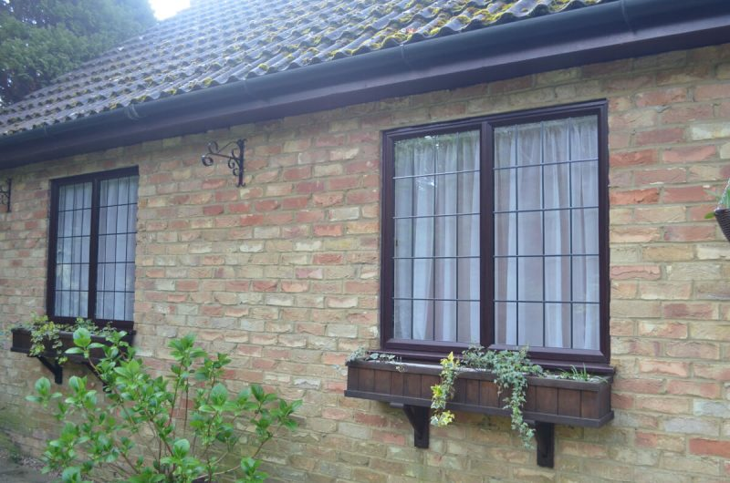 slimline windows with leaded glass in Rosewood