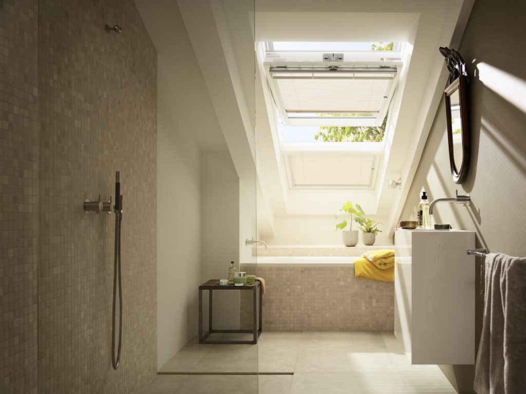 Open velux window in bathroom