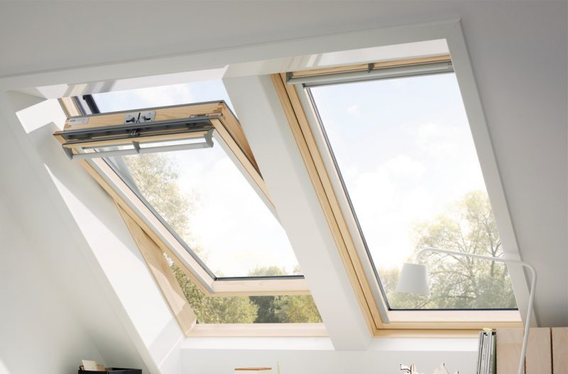 Two velux window one open