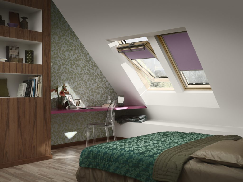 Velux window purple blind