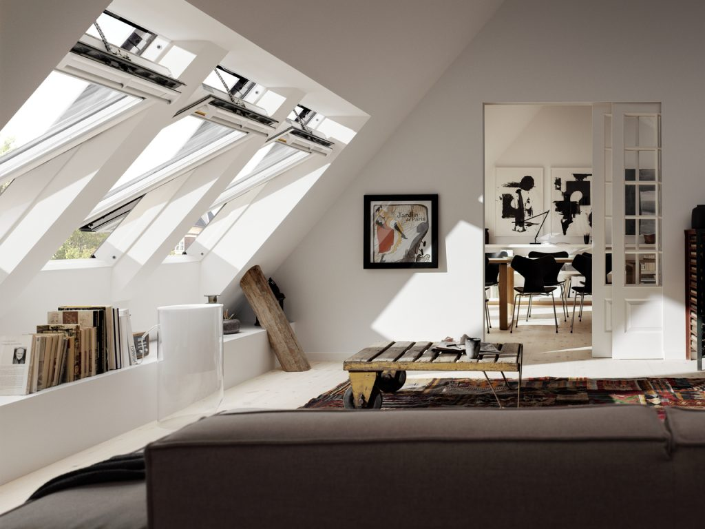 White Velux windows open