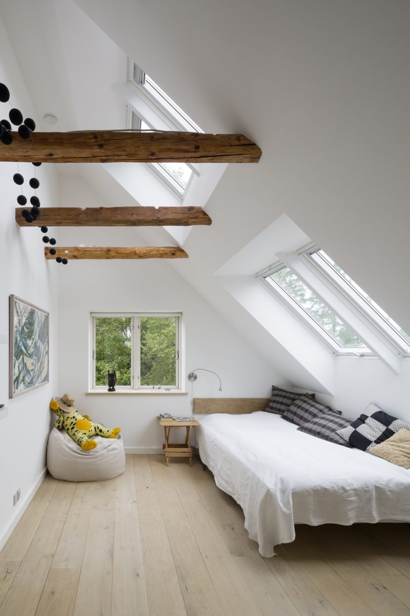 Velux windows in modern bedroom