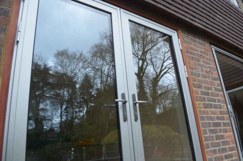 Aluminium french doors in grey
