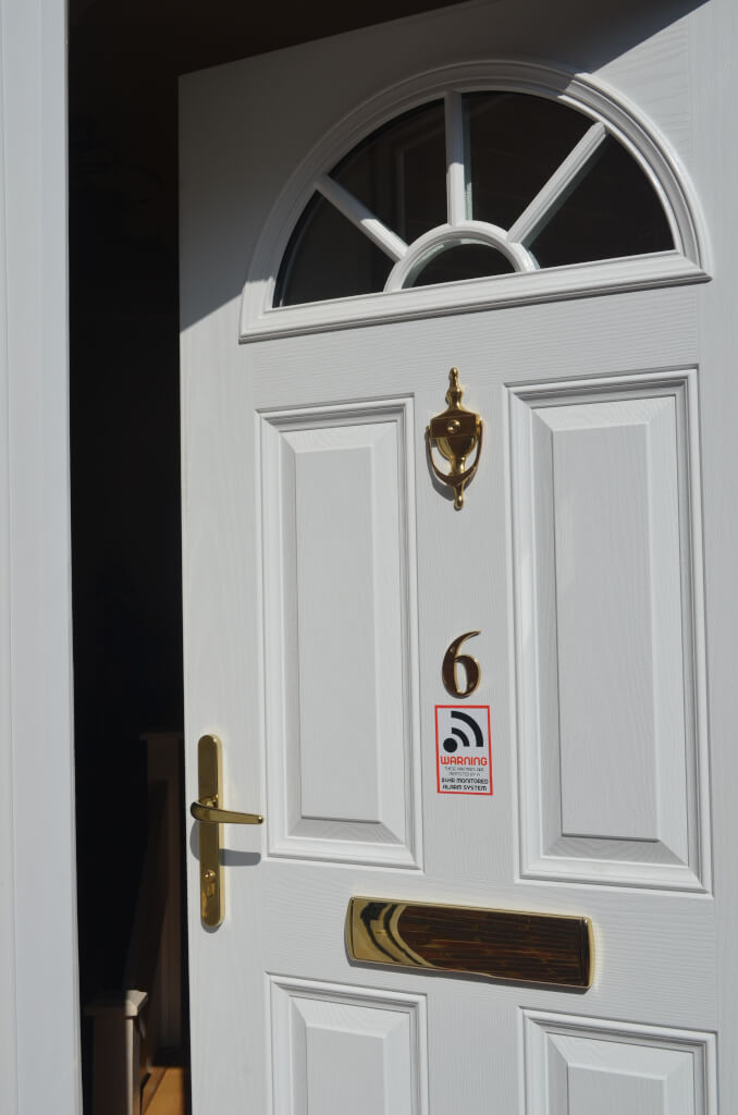 Close up of a white composite door
