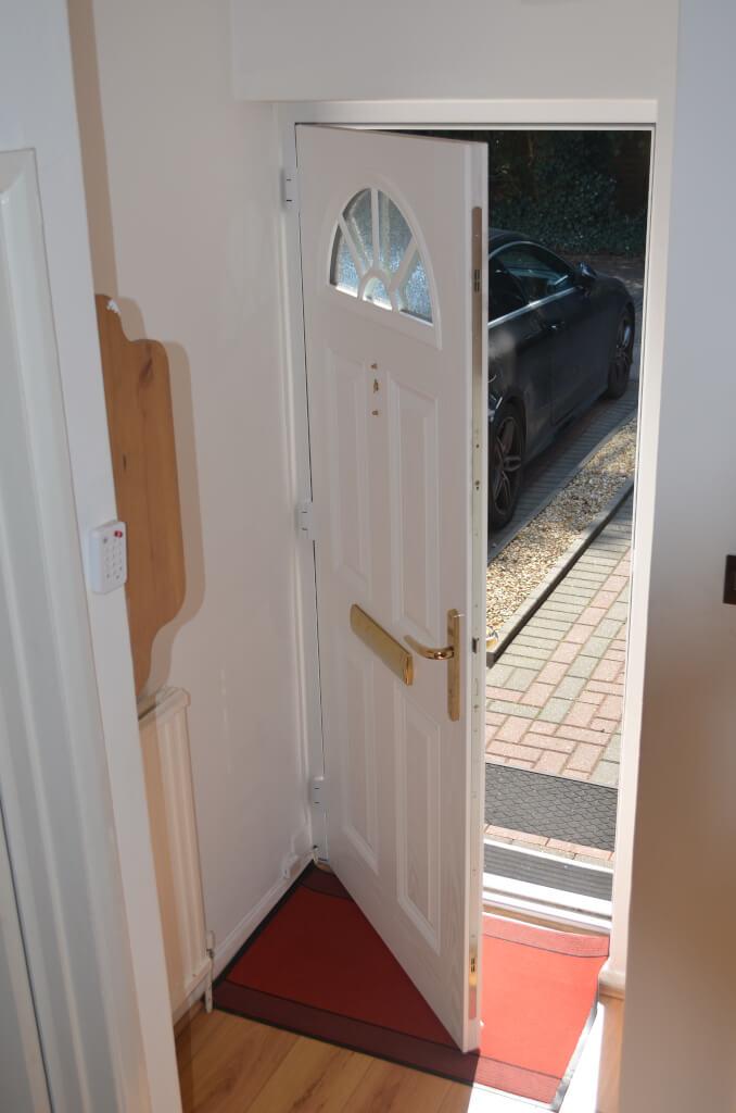 Interior view of a composite door