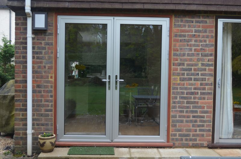Grey aluminium french doors