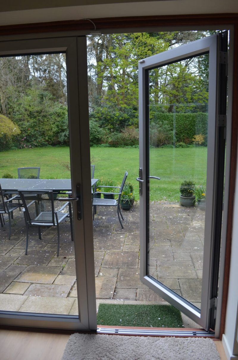 Interior view of aluminium french doors