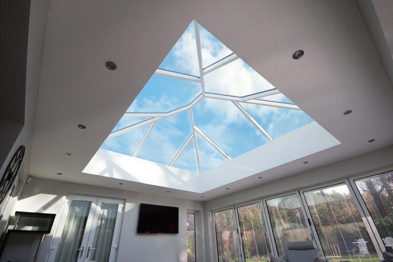 White aluminium roof lantern interior view