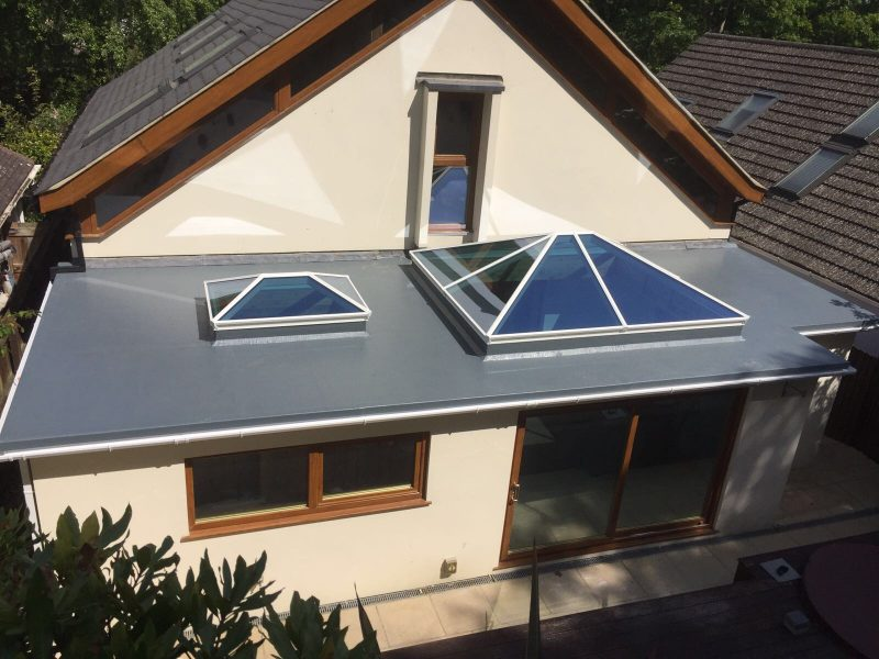 aluminium roof lanterns with white frames