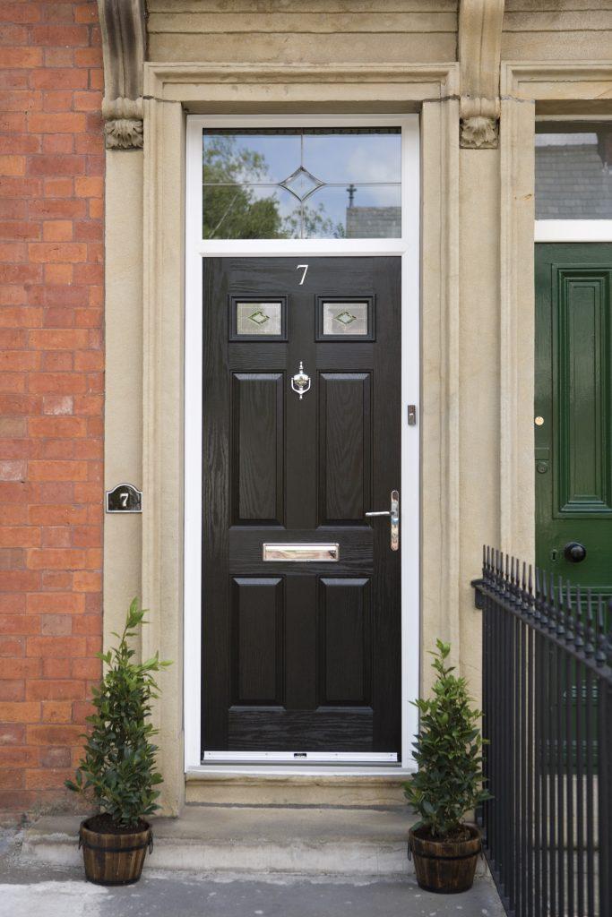 Black Composite front door with top light