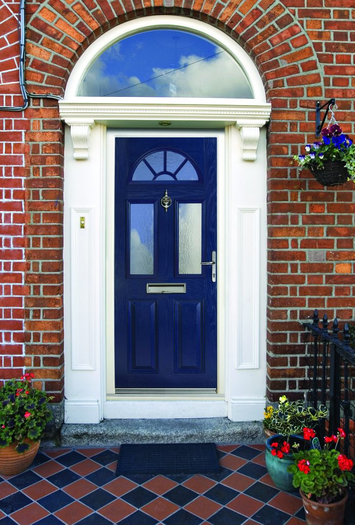 Blue composite door with arched top light