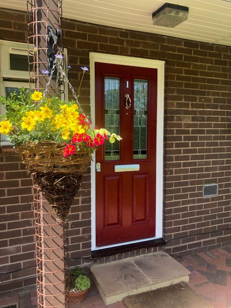 Composite front door in red