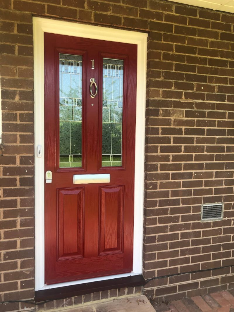 Red composite front door