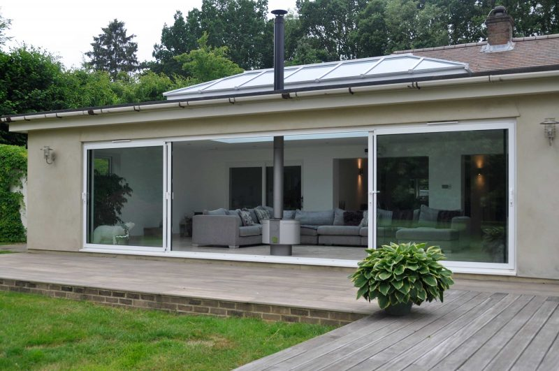 Wide span aluminium patio doors in white