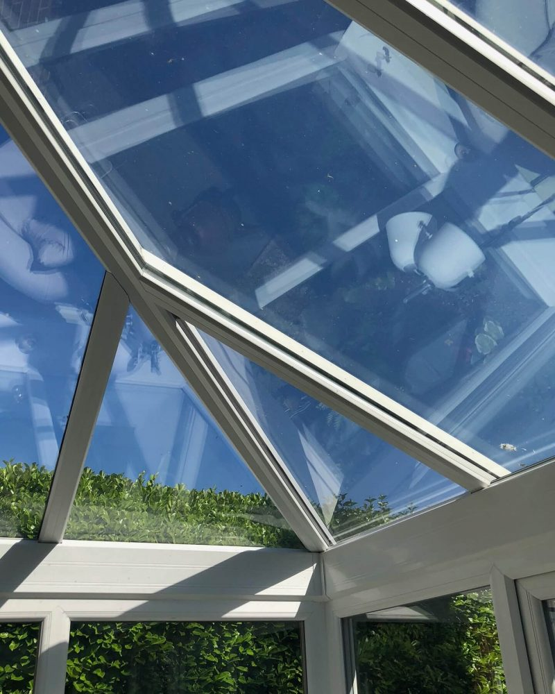 Glass conservatory roof internal view