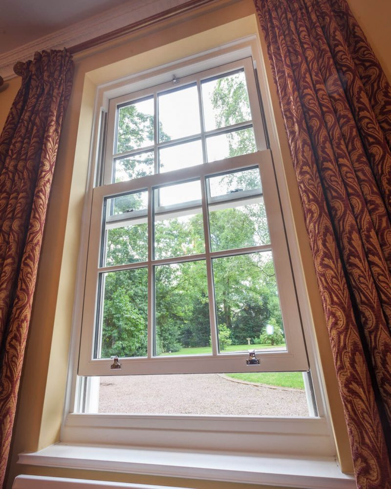 White sash window interior view