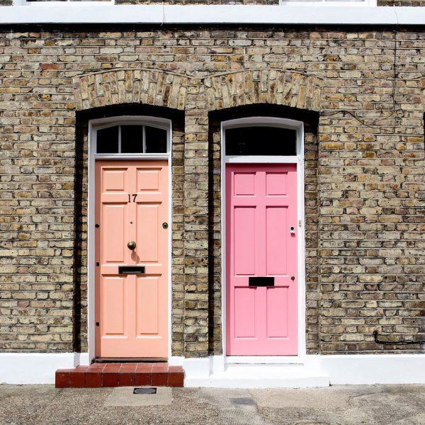 Pink & salmon front doors
